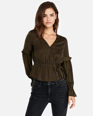 Express Surplice Wrap Ruffle Sleeve Blouse