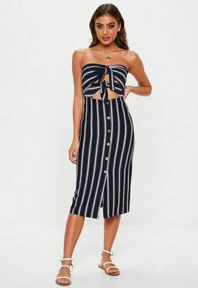 Missguided Stripe Tie Front Stripe Midi Dress