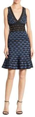 Herve Leger Deep V-Neck Jacquard Dress