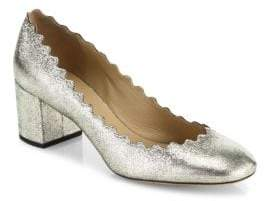 Chloé Lauren Metallic Leather Block Heel Pumps