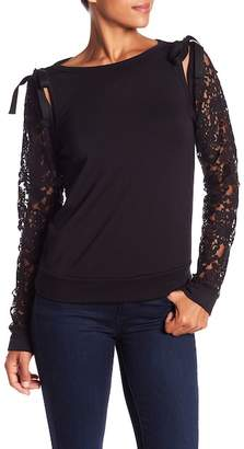 Bailey 44 Laurel Fleece With Lace Sleeve Top