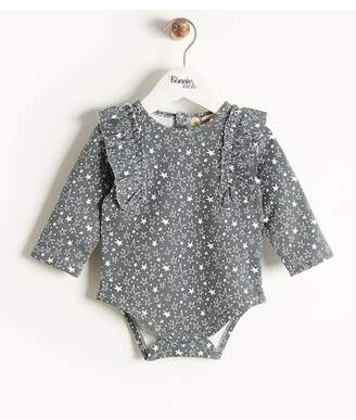 Bonnie Mob Printed Frill Shoulder Bodysuit (Baby Girls)