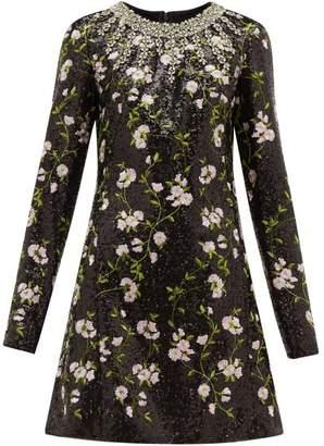 Giambattista Valli Crystal And Sequin Floral Embroidered Mini Dress - Womens - Black Multi