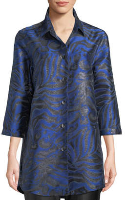 Caroline Rose 3/4-Sleeve Button-Front Shimmering Animal-Jacquard Boyfriend Shirt, Petite