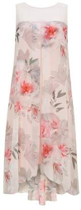 Wallis Blush Floral Print Front Overlay Dress