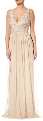 Adrianna Papell Plus Beaded V-Neck Dress, Champagne
