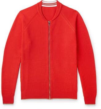 Mr P. Contrast-Tipped Waffle-Knit Bomber Jacket