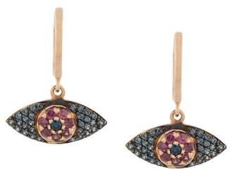Ileana Makri sapphire and rhodolite evil eye earrings