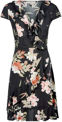 Dorothy Perkins Womens **Billie & Blossom Black Tropical Print Wrap Dress