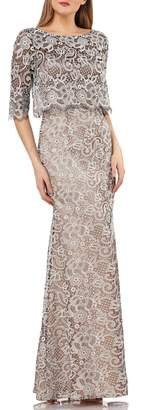 JS Collections Embroidered Lace Scallop Trim Evening Dress