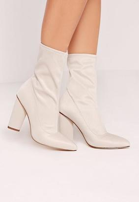 Missguided Toe Neoprene Heeled Ankle Boots Cream