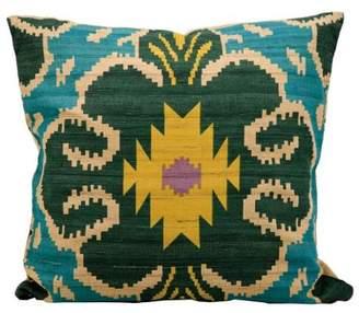 Nourison Kathy Ireland Clover Ikat Turquoise Throw Pillow