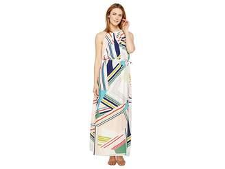 Adrianna Papell Printed Striped Maze Georgette Halter Maxi Dress Women's Dress