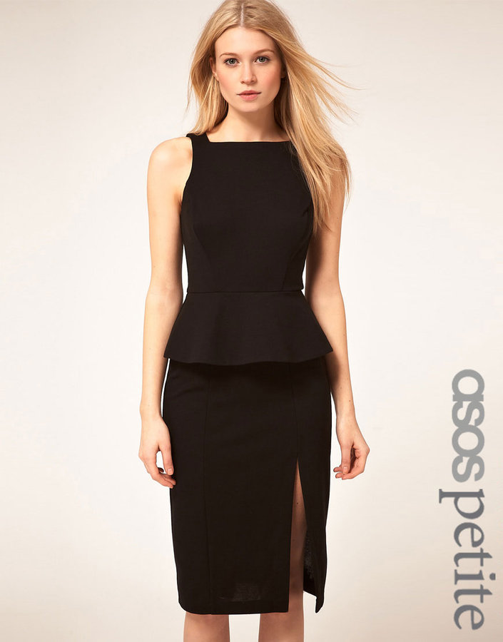 ASOS PETITE Exclusive Dress With Peplum And Sexy Thigh Split