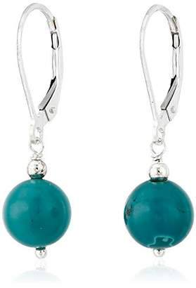 Sterling Silver Stabilized Chinese Turquoise Round Bead Drop Earrings