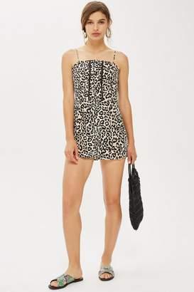 Topshop Leopard Crochet Romper