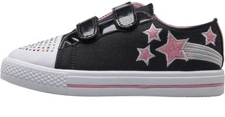 Board Angels Infant Girls Glitter Star Canvas Velcro Pumps Black/Pink