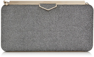 Jimmy Choo ELLIPSE Anthracite Lame Glitter Clutch Bag