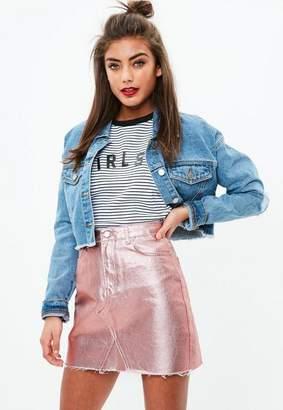 Missguided Rose Gold Metallic Raw Hem Mini Skirt