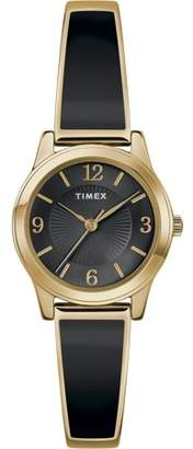Timex Women's Stretch Bangle 25mm Black/Gold-Tone Watch, Expansion Band