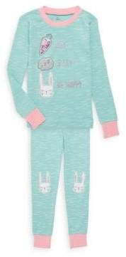 Petit Lem Little Girl's Graphic 2-Piece Pajama Top & Pants Set