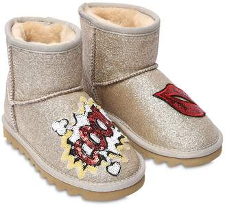 Colors of California Sequined Patches Glittered Ankle Boots