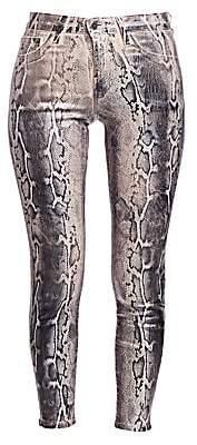L'Agence Women's Margot Metallic Python Print Skinny Jeans