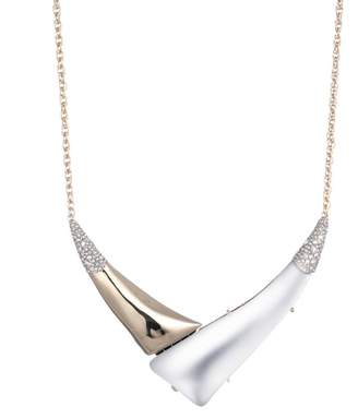 "Alexis Bittar Liquid Gold With Crystal Accent ""V"" Shaped Necklace"