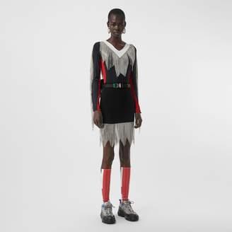 Burberry Crystal Fringe Stretch Knit Mini Skirt