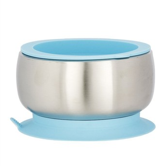 Baby Essentials Avanchy AVANCHY STAY-PUT BABY STAINLESS SUCTION BOWL with Air Tight Lid Blue