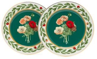 La Doublej - Posie Print Porcelain Dessert Plate Set - Womens - Green Multi