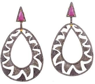 18K Gold & Sterling Silver Plated Black Rhodium Ruby, Black & Champagne Diamonds Interlocking Claw Earrings
