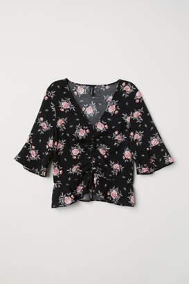 H&M V-neck Drawstring Blouse - Black