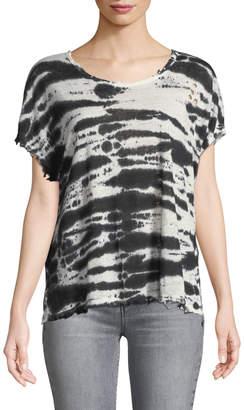 RtA Dawm Round-Neck Short-Sleeve Tie-Dye Linen Top
