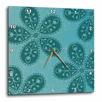 3dRose Teal Boho Flowers bohemian hippi chic, Wall Clock, 10 by 10-inch