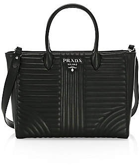 Prada Women's Large Diagramme Leather Tote Bag