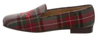Stubbs & Wootton Embroidered Plaid Smoking Slippers