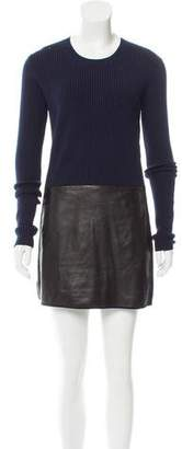 Reed Krakoff Leather-Trimmed Sweater Dress