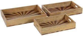 Uma Enterprises Wood Tray Set Of 3