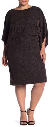 Marina Metallic Stripe Blouson Dress (Plus Size)