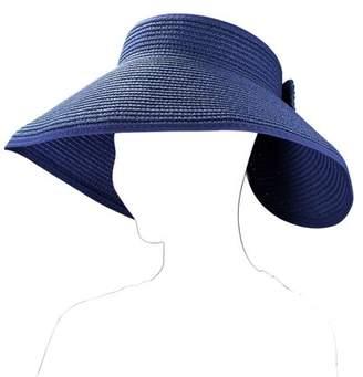 91296cd3 Aerusi Fashion Women's and Girl's roll-up Summer Bow Tie Straw Visor Sun Hat