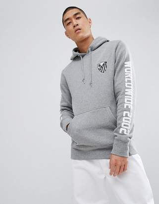 HUF defender hoodie with sleeve print in gray