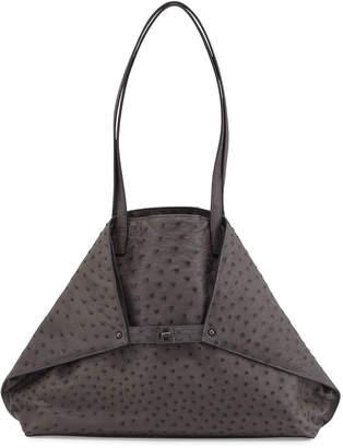 Akris Ai Ostrich Shoulder Bag, Dark Gray