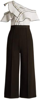 SELF-PORTRAIT Asymmetric wide-leg twill and cady jumpsuit