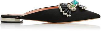 Rochas Jewel-Embellished Satin Mules