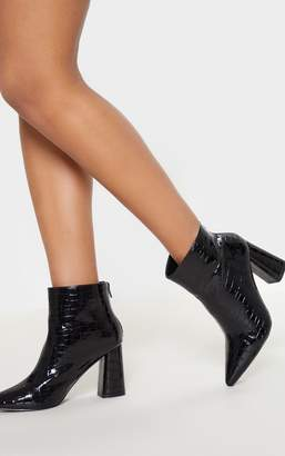 3451b1a028c5 PrettyLittleThing Black Patent Croc Block Heel Point Ankle Boot