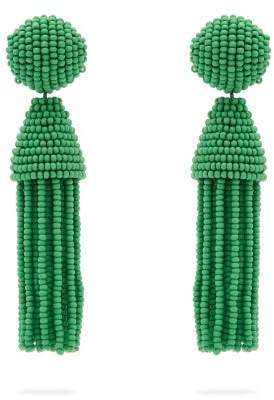 Oscar de la Renta Beaded Tassel Drop Earrings - Womens - Green