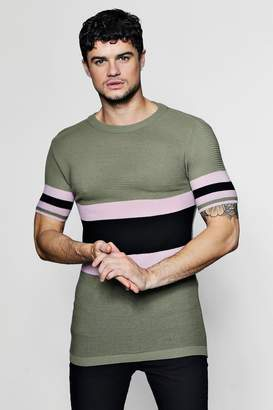 boohoo Colour Block Knitted T-Shirt