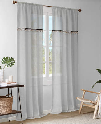 """Madison Park Dalis 50"""" x 84"""" Faux Linen Rod Pocket Window Curtain With Attached Shell Trim Valance"""