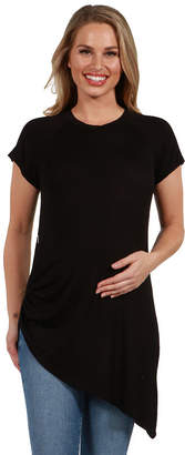 24/7 Comfort Apparel Zola Asymmetric Short SleeveMaternity Tee